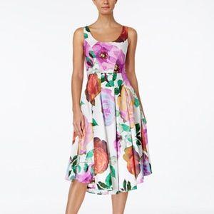 Calvin Klein Floral Midi Fit & Flare Dress 6 EUC